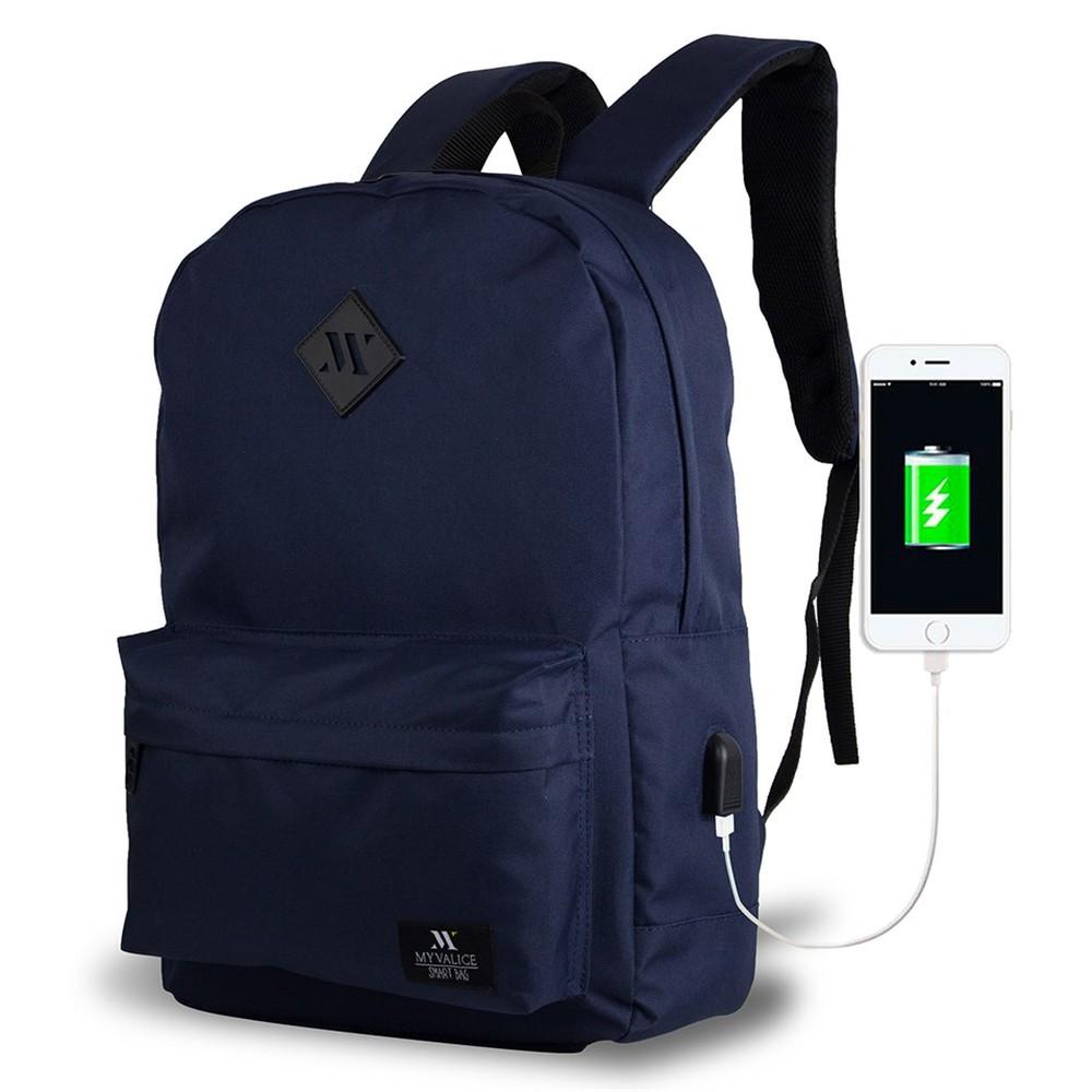 Tmavomodrý batoh s USB portom My Valice SPECTA Smart Bag