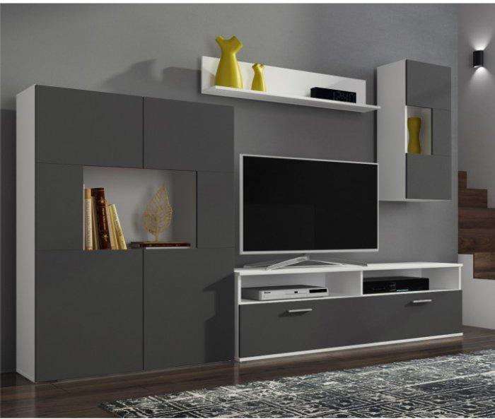 TEMPO KONDELA FEITH obývacia stena s osvetlením - sivá / biela