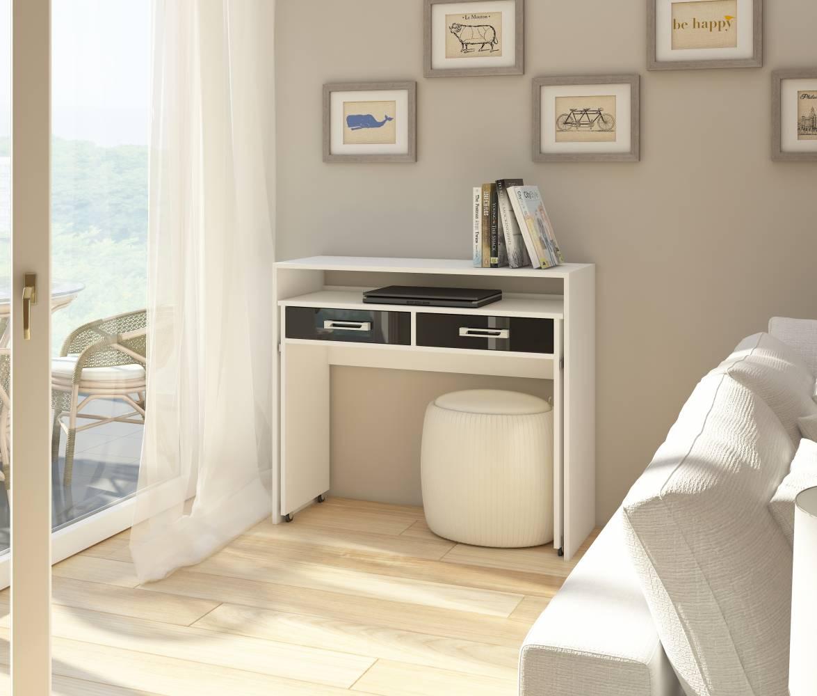 PC stolík Zoom biela + lesk čierny