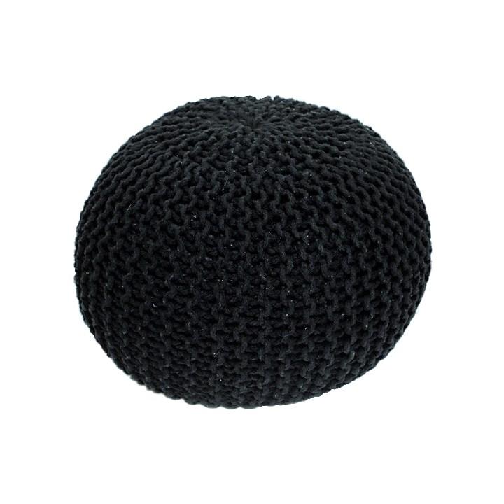 Tempo Kondela Pletený taburet Gobi 1, čierna