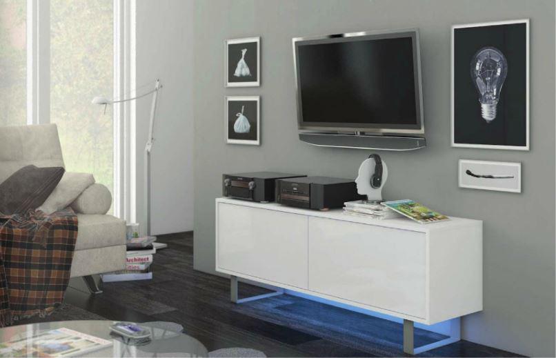 TV stolík/skrinka King 1 (biela + lesk biely)