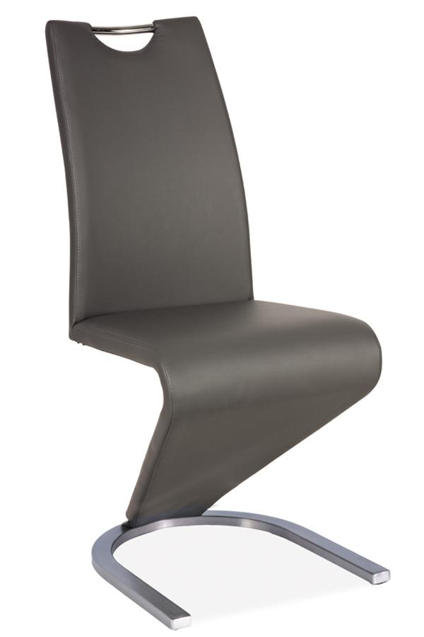 Jedálenská stolička HK-090, sivá/kartáčovaná oceľ