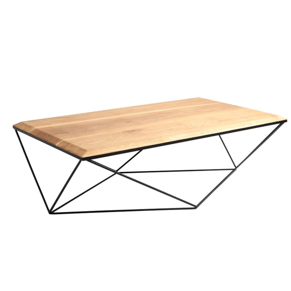 Konferenčný stolík s čiernou podnožou a doskou z masívneho dubu Custom Form Daryl, šírka 140 cm