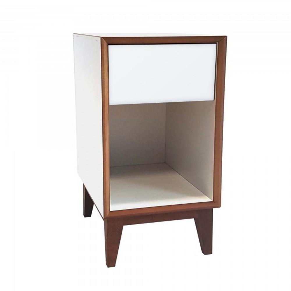 Veľký nočný stolík s bielym rámom a bielou zásuvkou Ragaba PIX