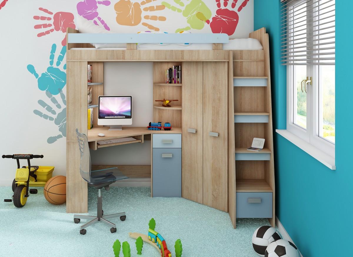 Rohová poschodová posteľ Antresola (P) Sonoma + modrá (s roštom)