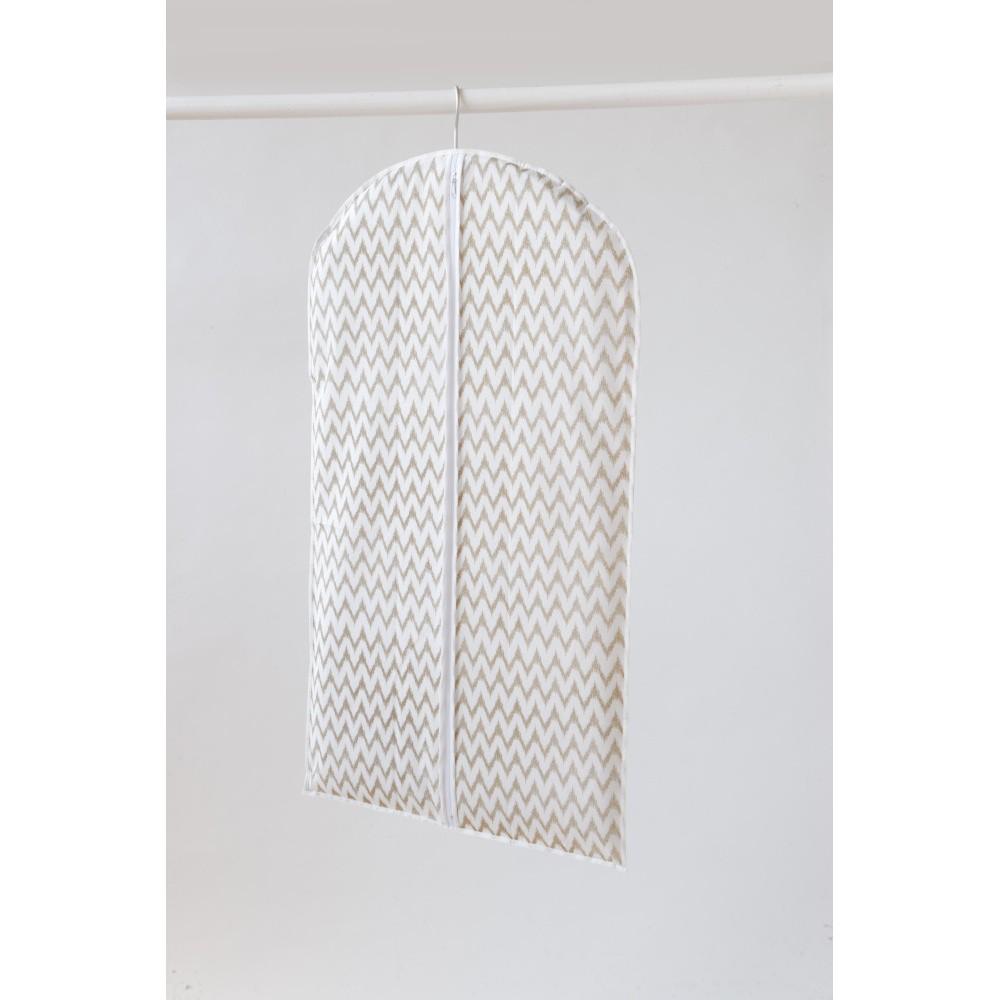 Biely textilný závesný obal na šaty Compactor Clear, 100 cm