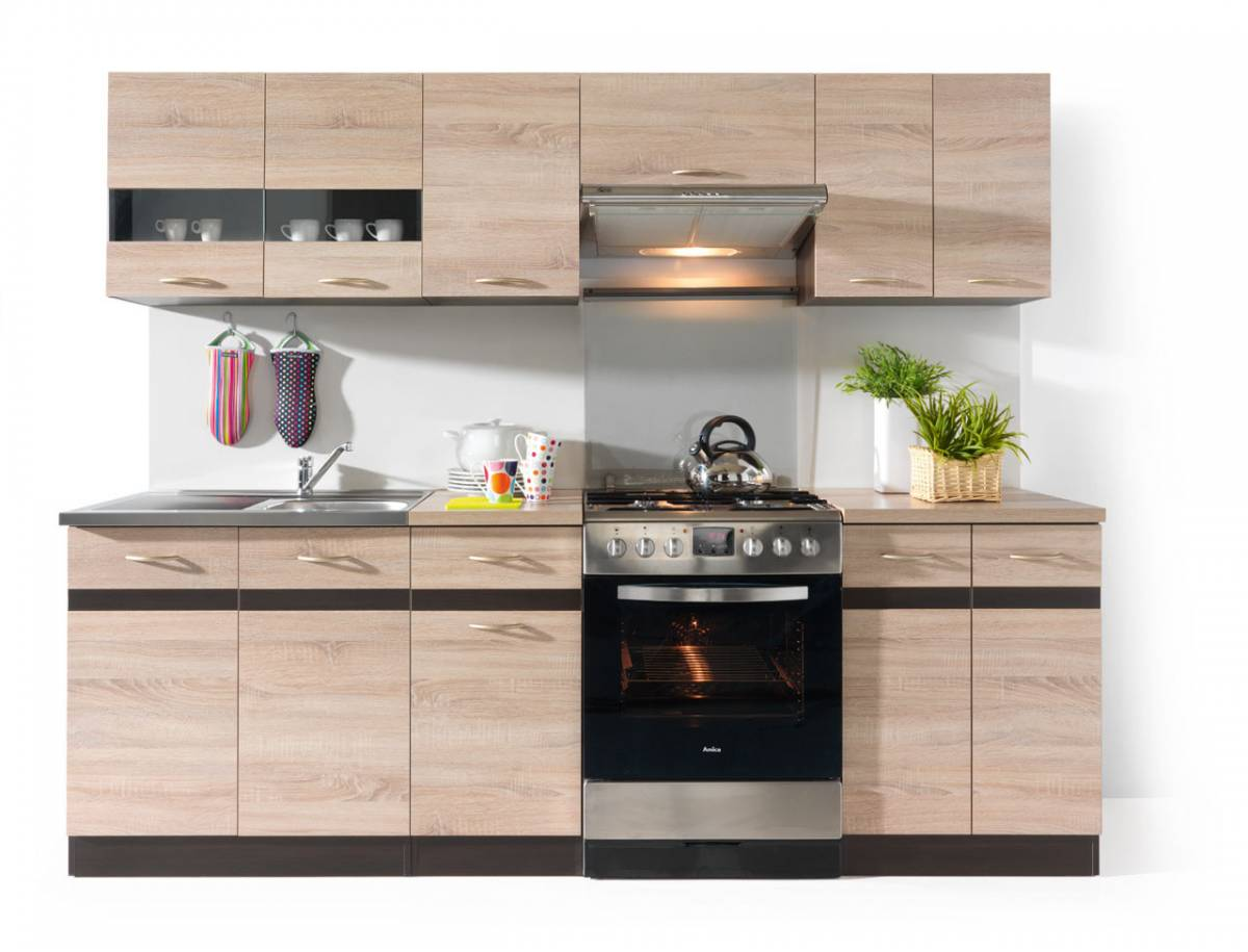 Kuchyňa Junona line 240 cm Wenge a Dub Sonoma svetlá