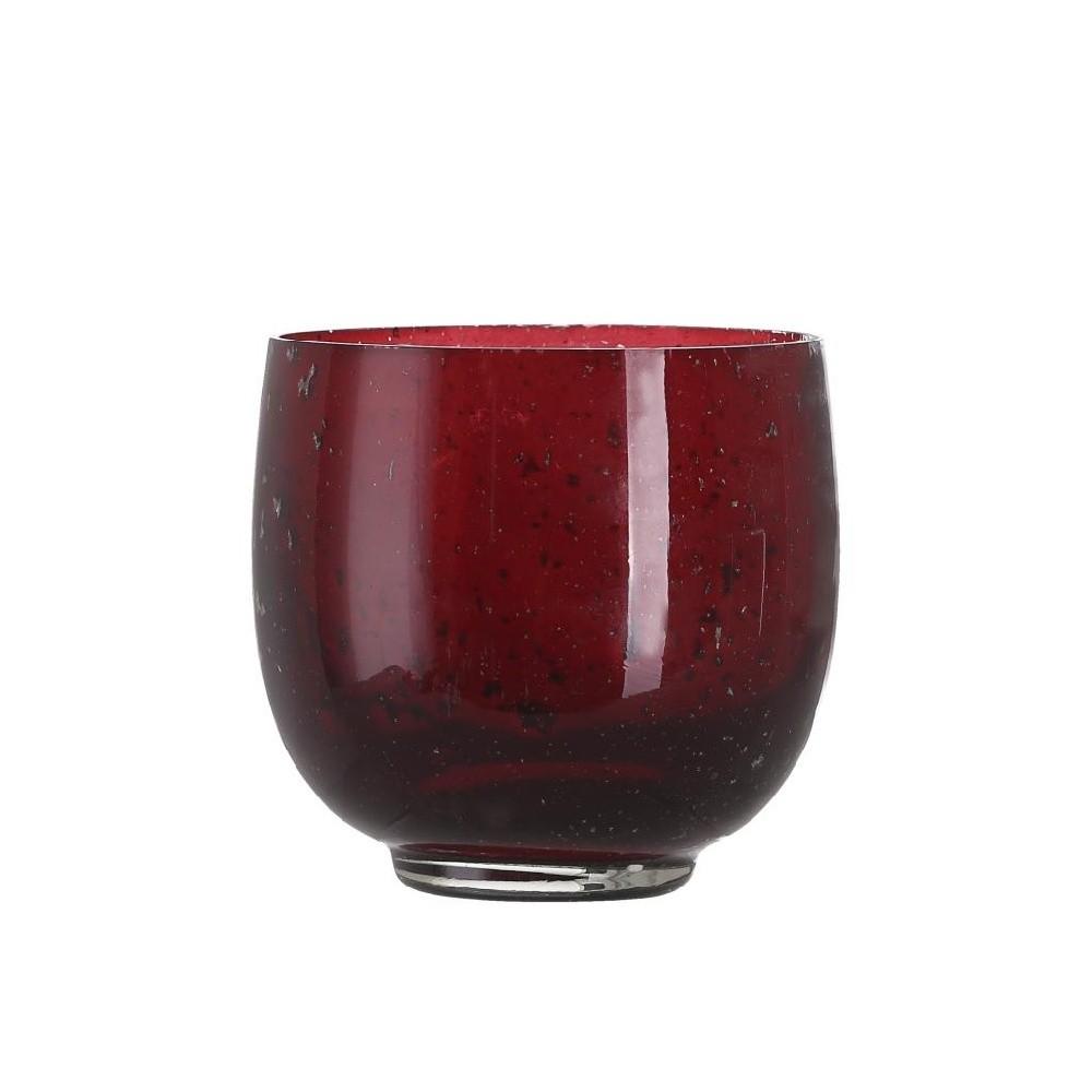 Červený sklenený svietnik A Simple Mess, ⌀ 10 cm