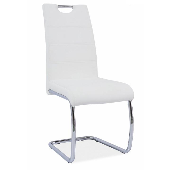 Jedálenská stolička Abira New (biela + chróm)
