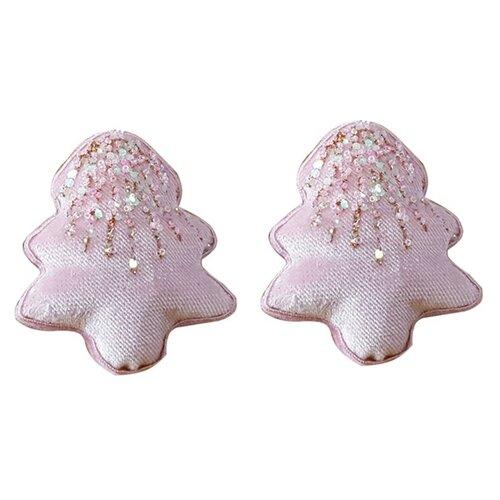 Altom Sada zamatových vianočných ozdôb Shiny Trees 2 ks, ružová