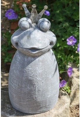 Záhradná socha KING OF FROG II - sivá