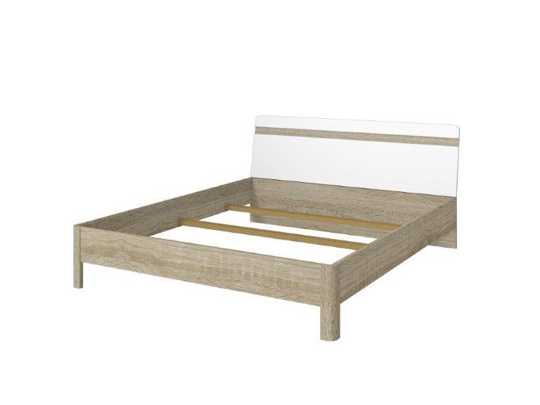 Manželská posteľ 160 cm Typ 32 (dub sonoma svetlá + biely lesk)