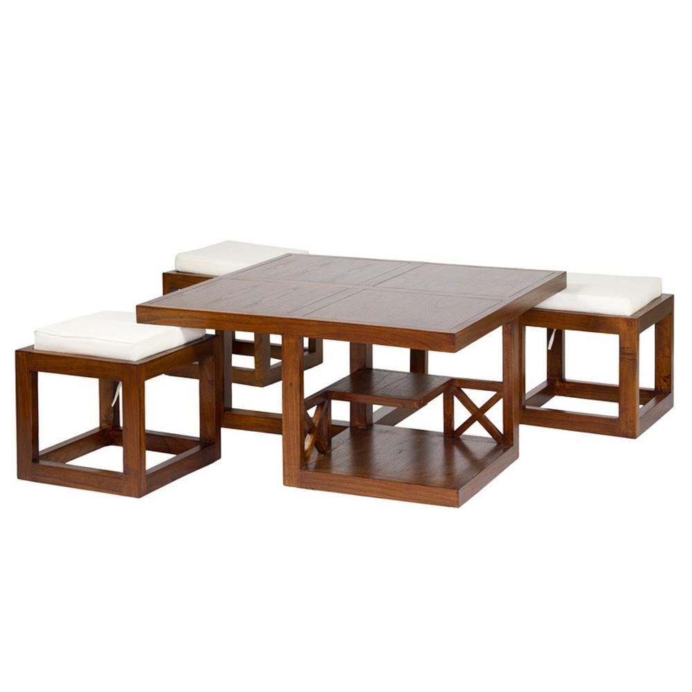 Set konferenčného stolíka a 3 stoličiek z dreva mindi Santiago Pons Ara