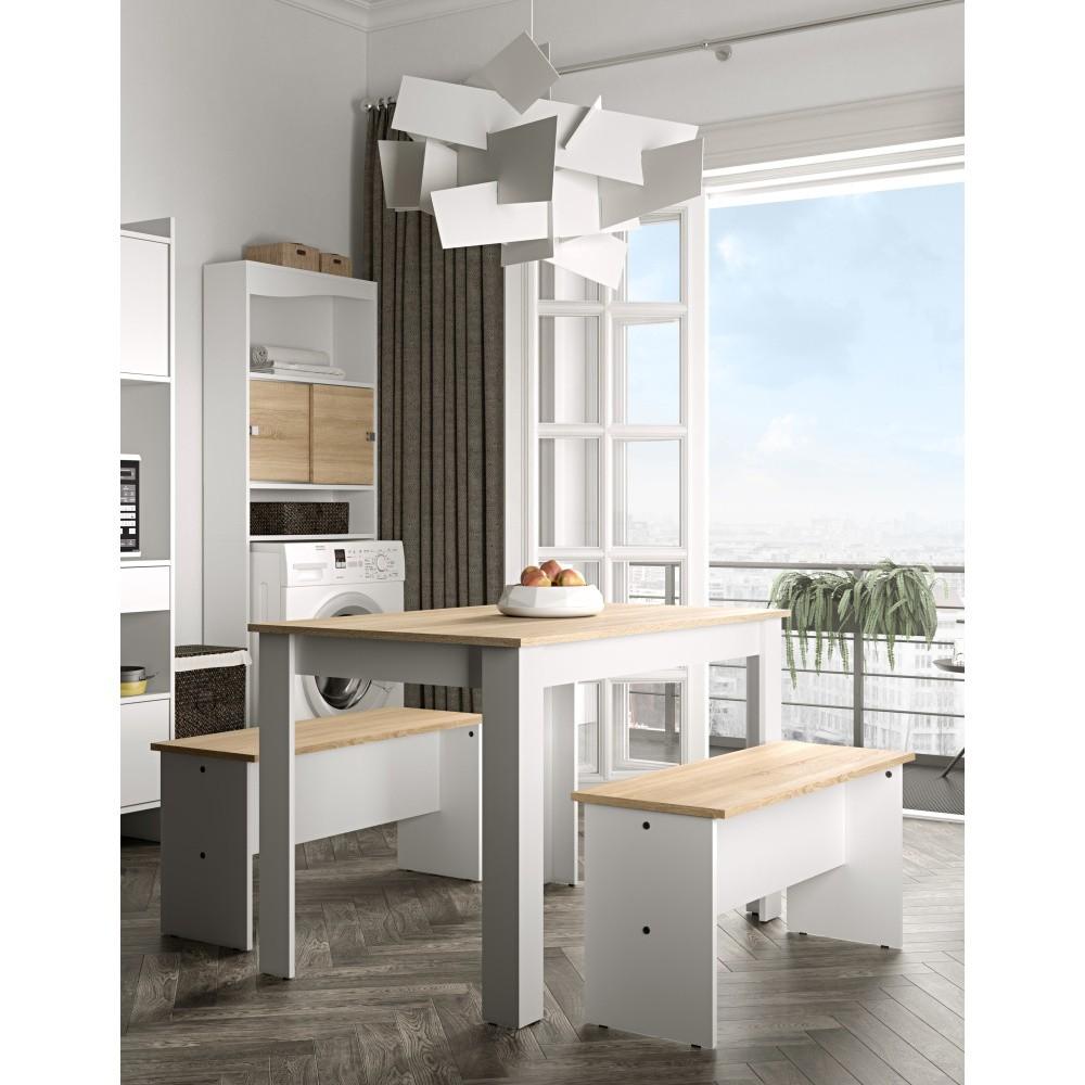 Set bieleho jedálenského stola a 2 lavíc s doskou v dekore bukového dreva Symbiosis Nice