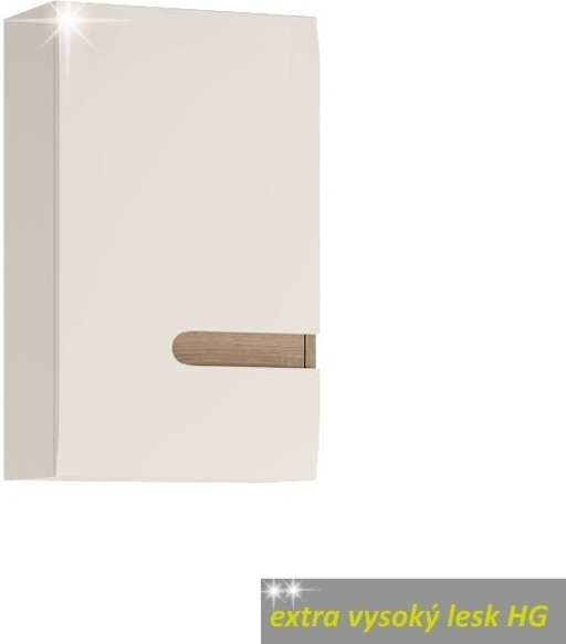 Skrinka horná, ľavé prevedenie, biela, extra vysoký lesk, LYNATET TYP 157 L