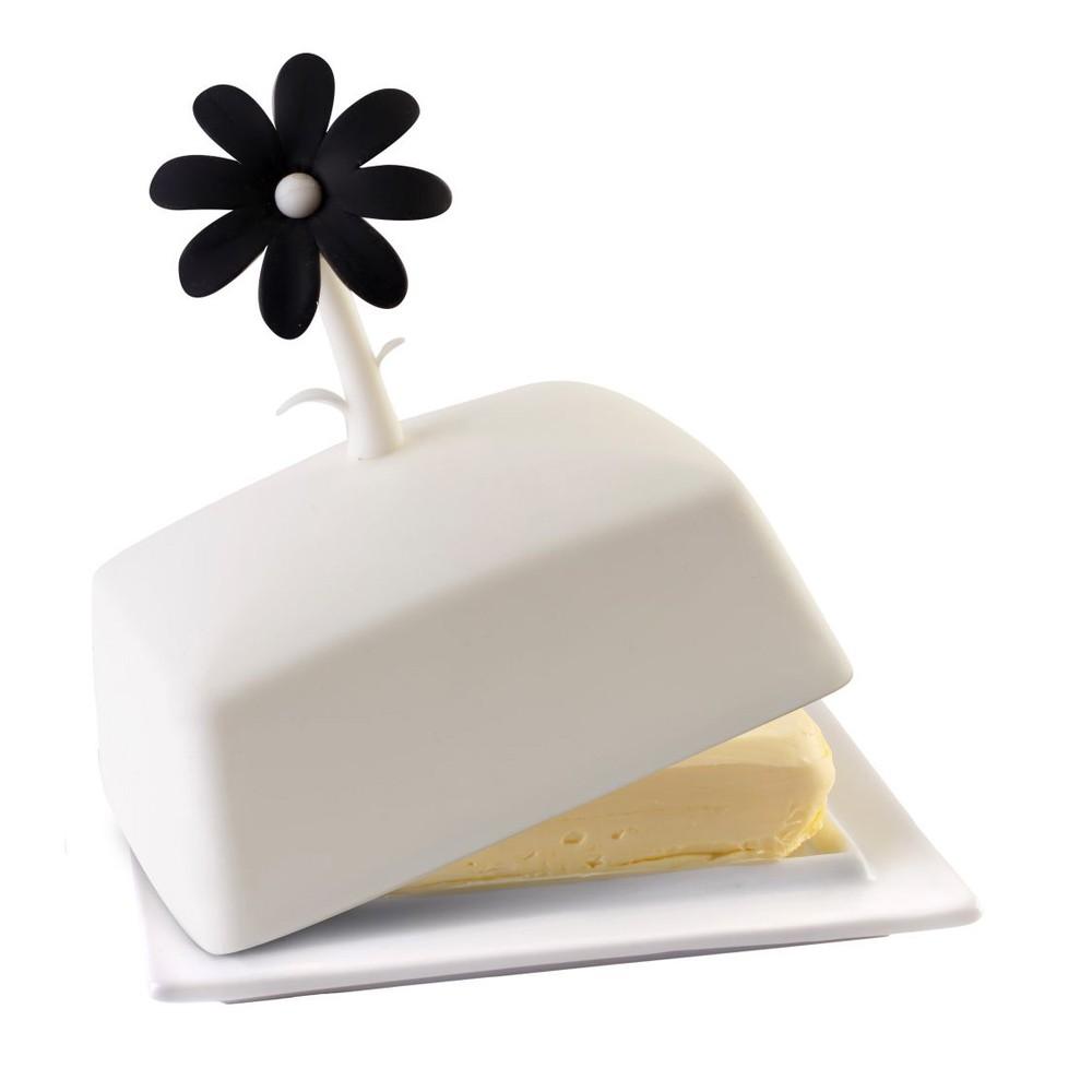 Bielo-čierna nádoba na maslo Vialli Design Livio
