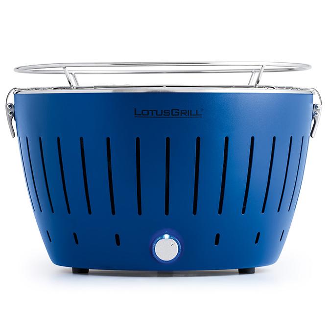 LotusGrill modrý  + 1kg dreveného uhlia + gélový podpalovač + taška + sada batérií