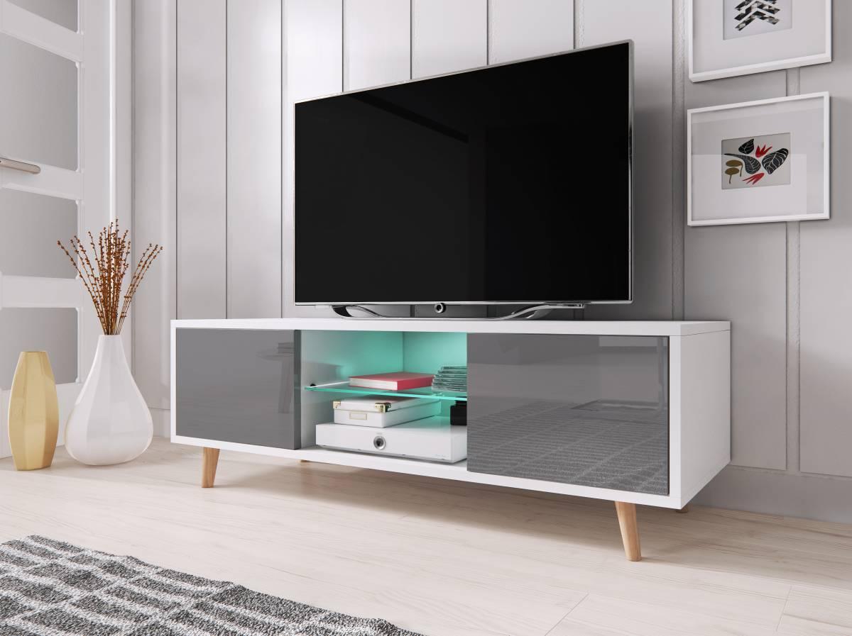 TV stolík/skrinka Sweden 1 (sivý lesk + biela matná)