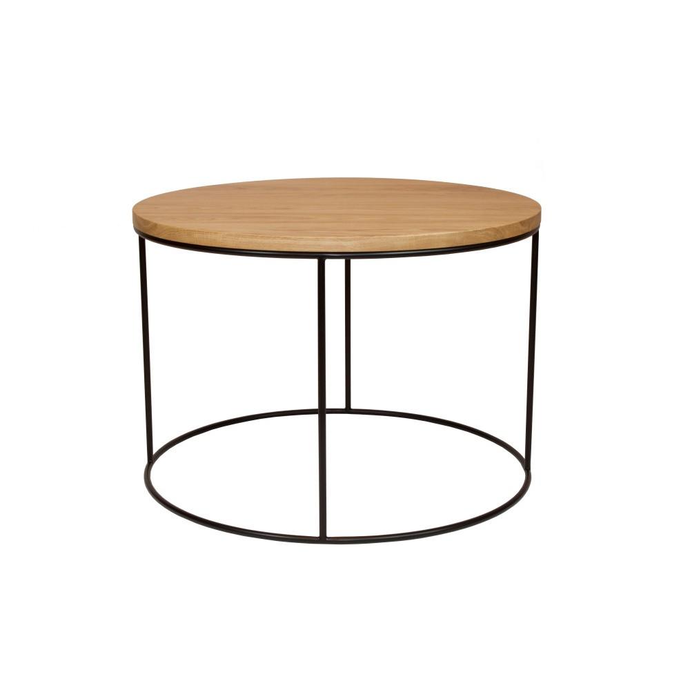 Čierny konferenčný stolík s doskou z dubového dreva Take Me HOME Elk, ⌀60cm
