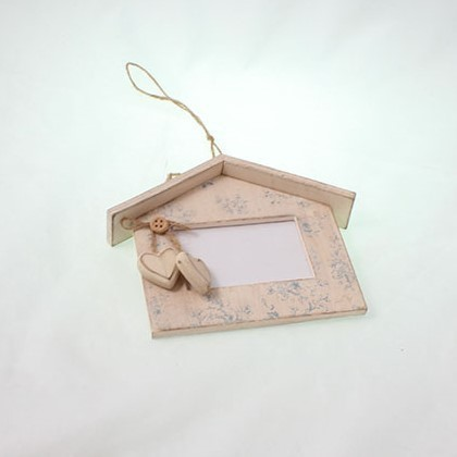 drevený fotorámik domček závesný 17 x 14 cm