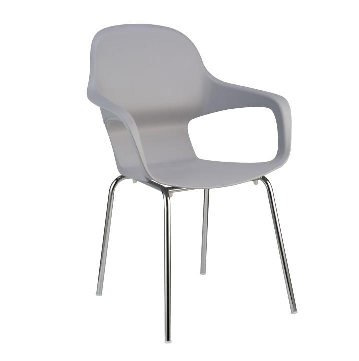 TEMPO KONDELA DORIEN jedálenská stolička - chróm / sivá
