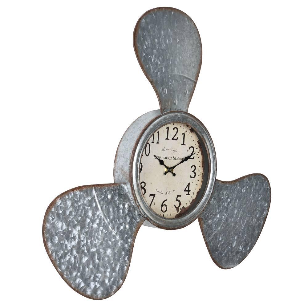 [en.casa]® Nástenné hodiny v tvare lodnej skrutky - 61 x 7 x 56 cm - farebné - sklo