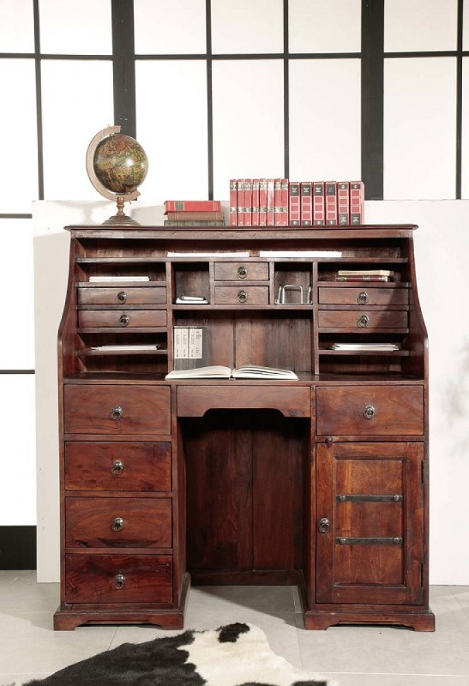 Bighome - CAMBRIDGE  Koloniálny písací stôl, masívny akáciový nábytok