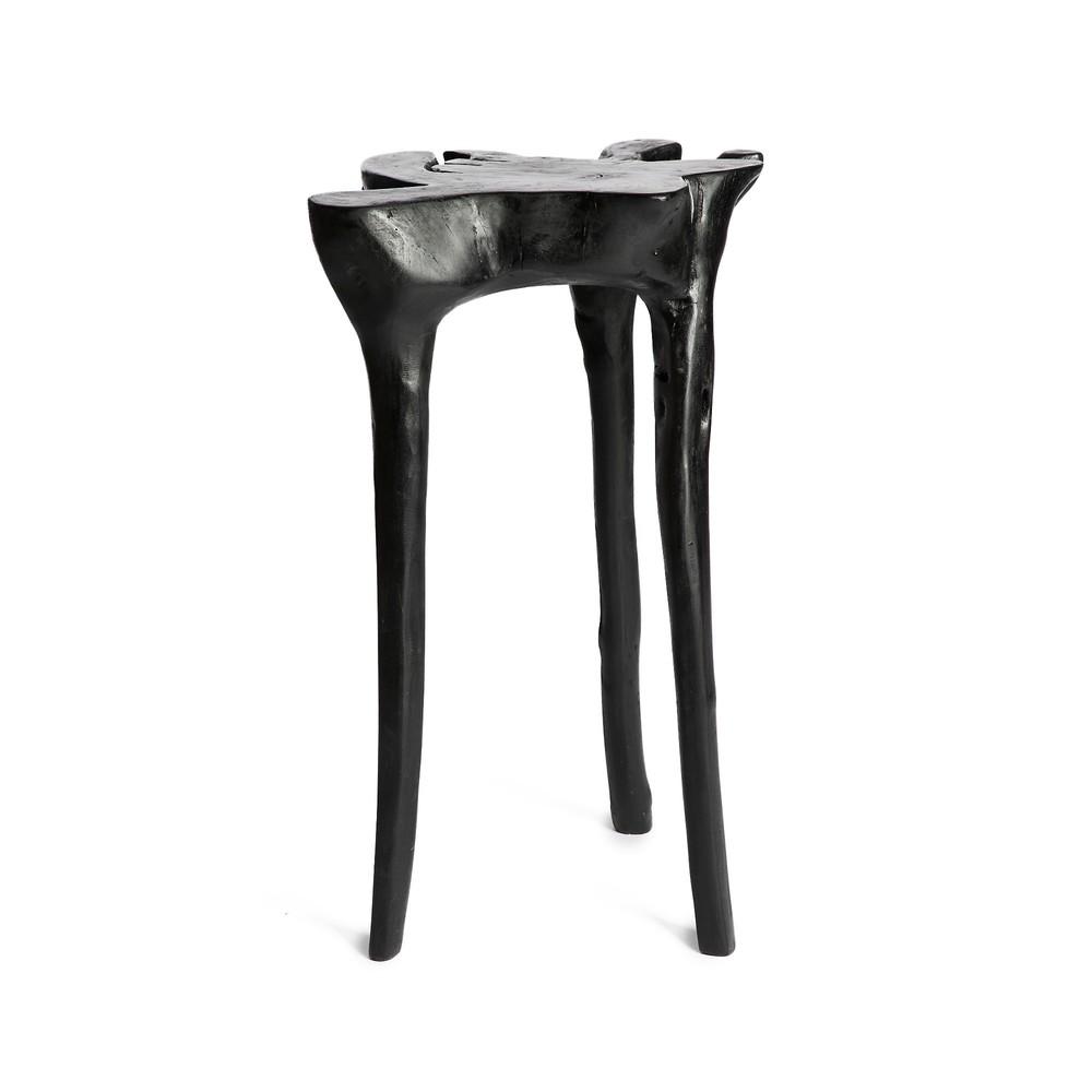 Čierny príručný stolík z teakového dreva Simla Jungle, ⌀ 40 cm