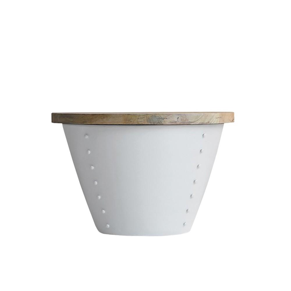 Biely príručný stolík s doskou z mangového dreva LABEL51 Indi, Ø 46 cm