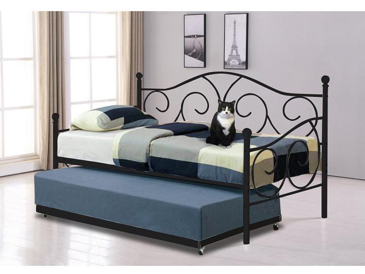 Jednolôžková posteľ 90 cm Saina (čierna) (s roštom a prístelkou)