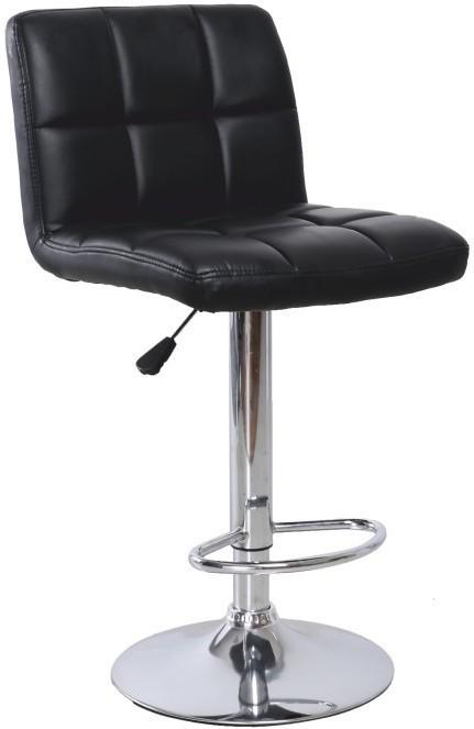 Barová stolička, ekokoža čierna/chróm, KANDY
