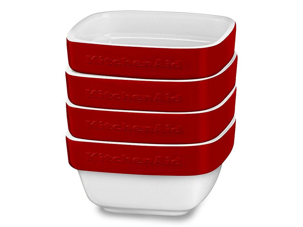 Sada keramických zapakacích misiek KitchenAid kráľovská červená 4 ks