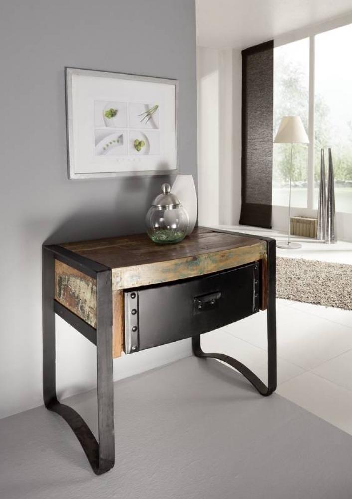 INDUSTRIAL nočný stolík #11, liatina a staré drevo