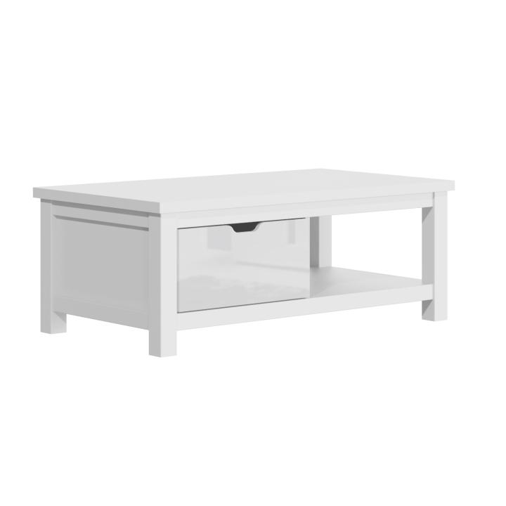 TEMPO KONDELA Konferenčný stolík AR90, biely lesk/biela, ARTEK