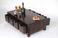 Furniture nábytok  Masívny konferenčný stolík s 8 zásuvkami  z Palisanderu  Indar  90x55x30 cm