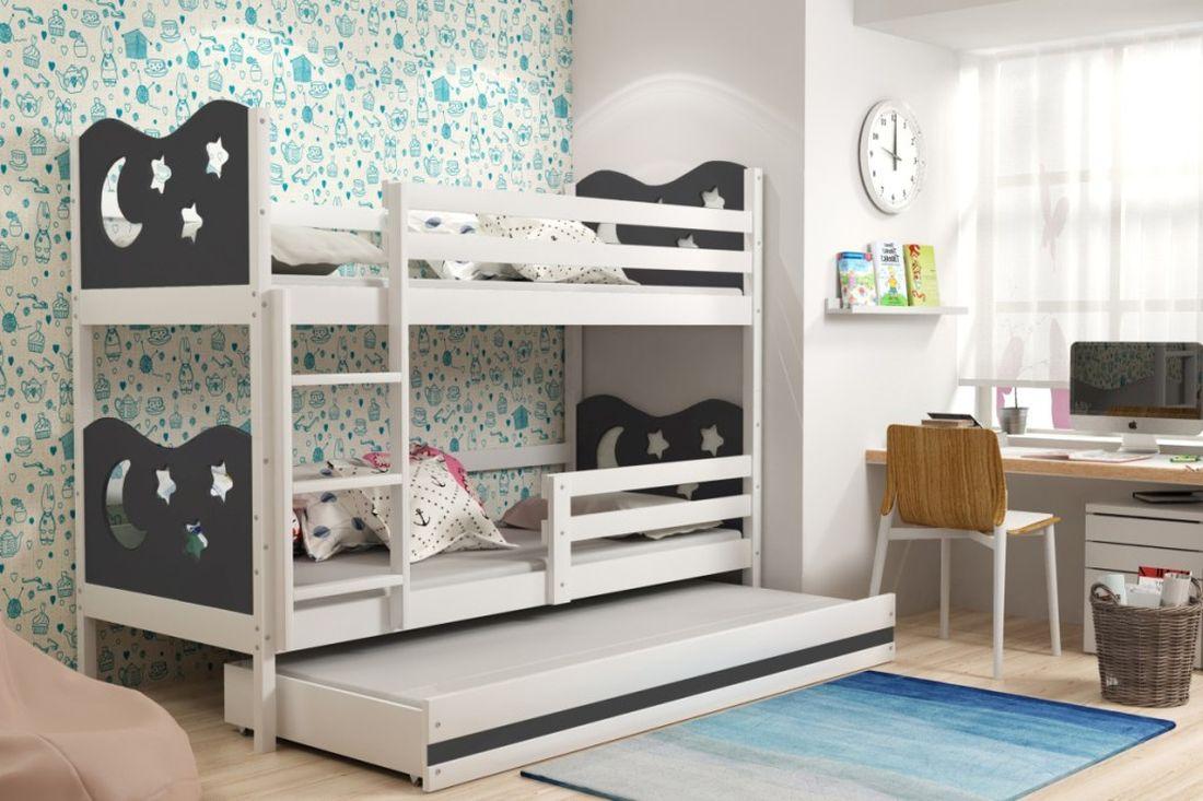 Poschodová posteľ KAMIL 3 + matrac + rošt ZADARMO, 90x200, biela/grafitová