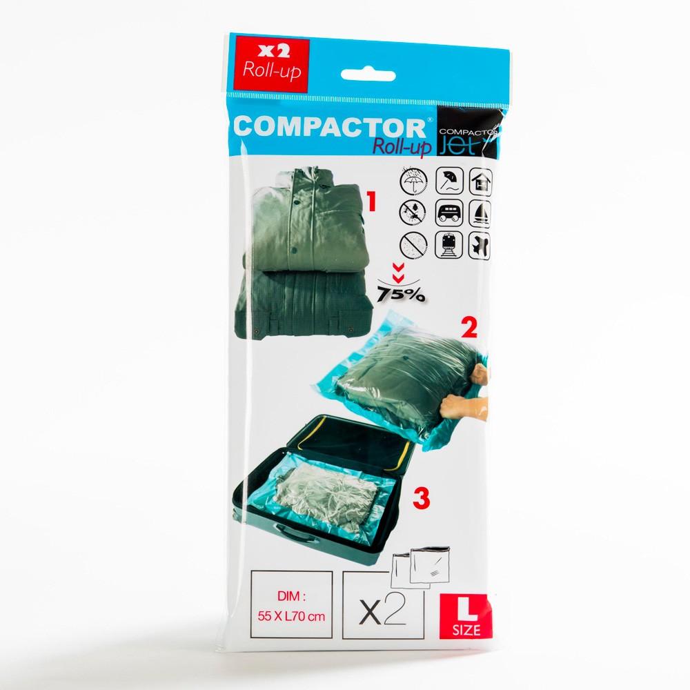Sada 2 modrých vákuových obalov na oblečenie Compactor, 100×60 cm