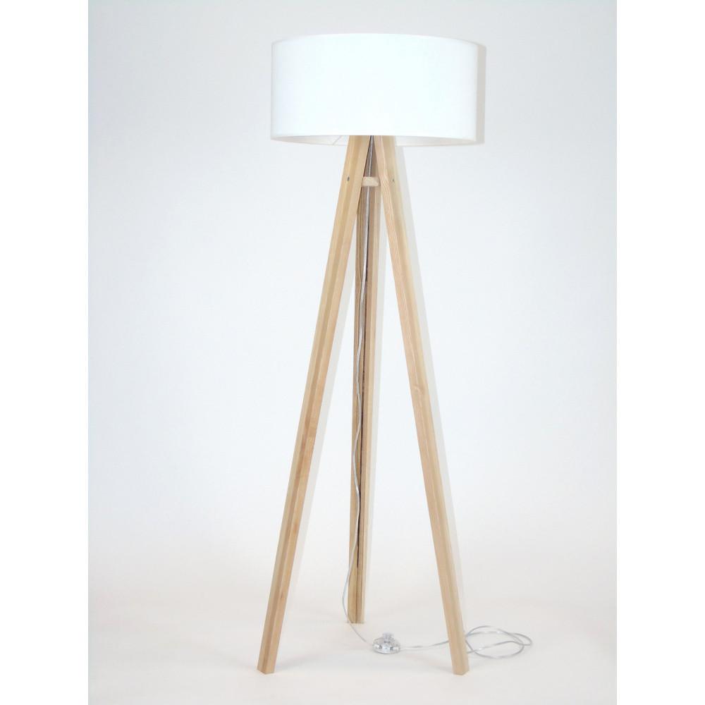 Stojacia lampa s bielym tienidloma transparentným káblom Ragaba Wanda