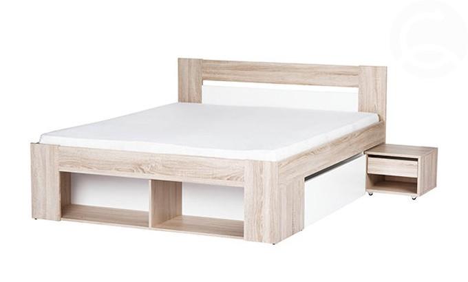 Manželská posteľ 140 cm Milo (so zásuvkami a noč. stolíkmi) MOB-4027