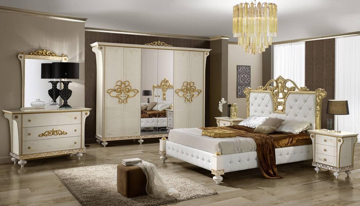 Spálňa DESIRO - biela, zlatá