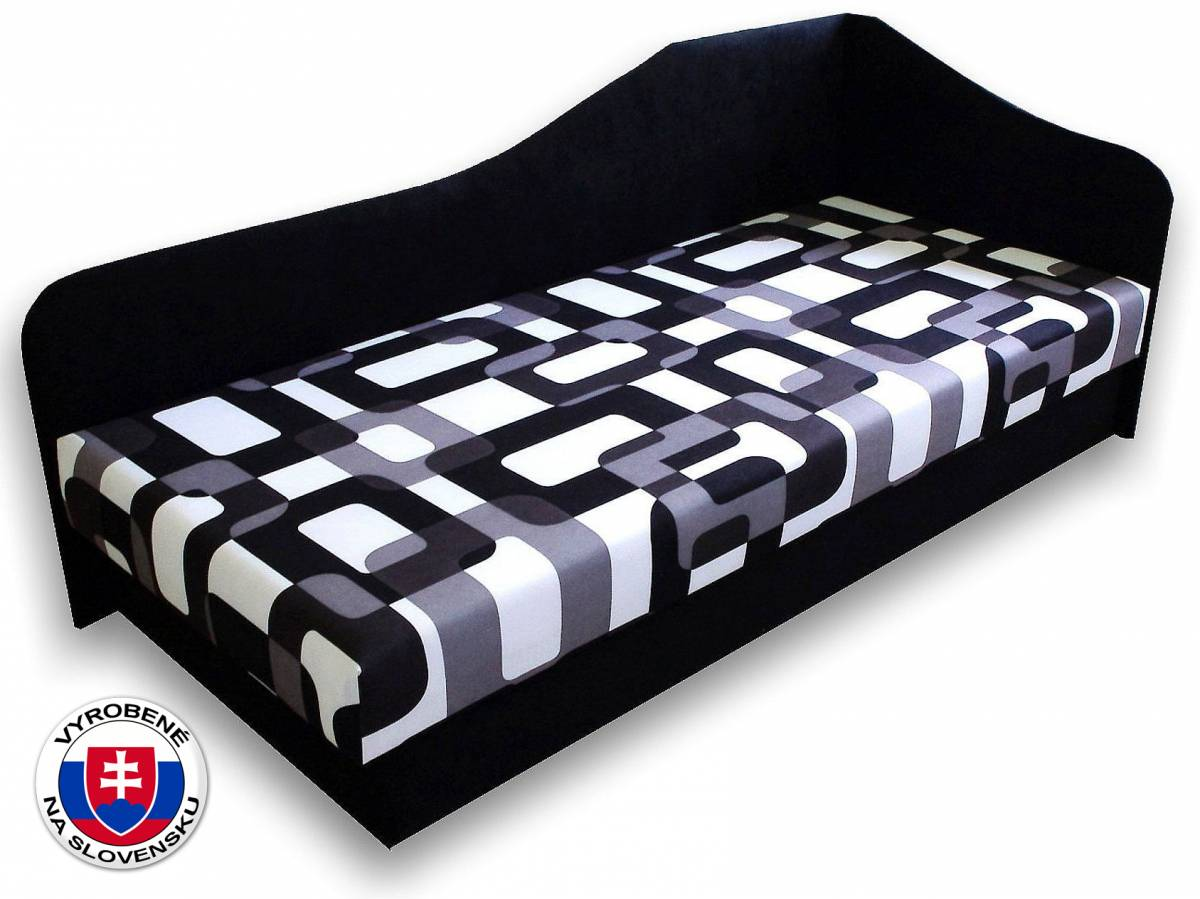 Jednolôžková posteľ (váľanda) 80 cm Lux 87 (Čierna 39 + Gusto 12) (P)