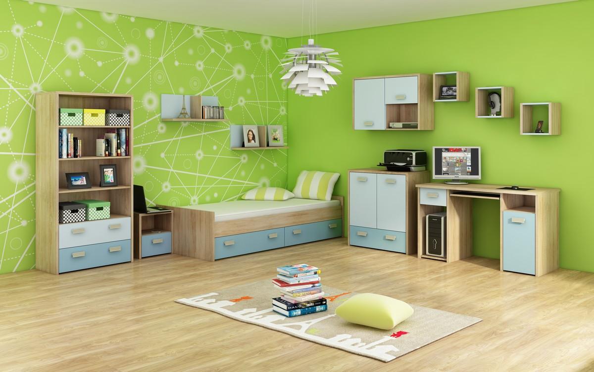 Študentská izba Kitty 3 Sonoma svetlá + modrá