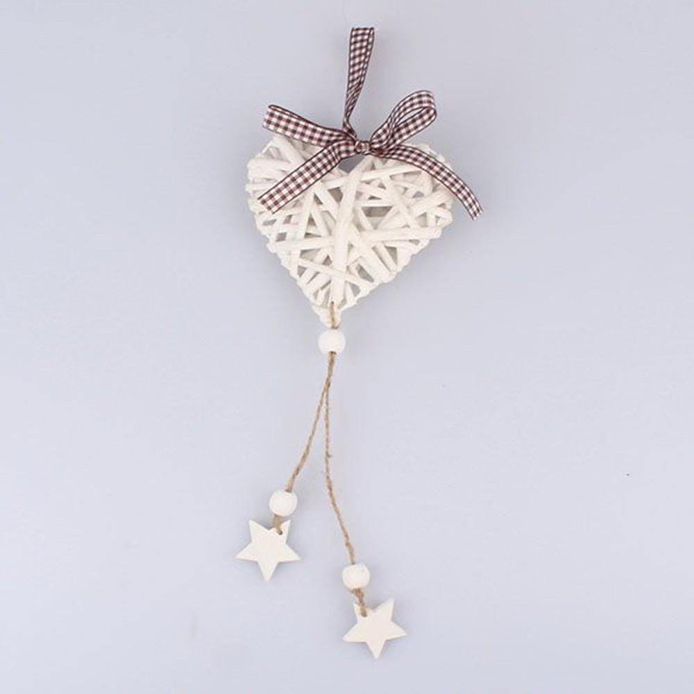 Biele ratanové závesné dekoratívne srdce Dakls Stars
