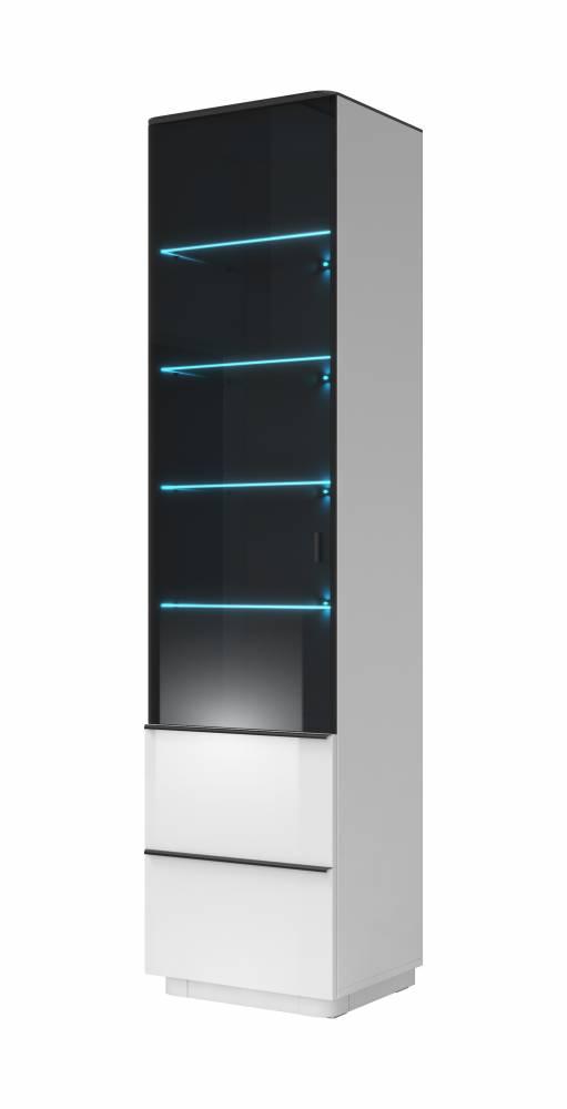 Vitrína Typ 05 L/P (biela + čierne sklo)