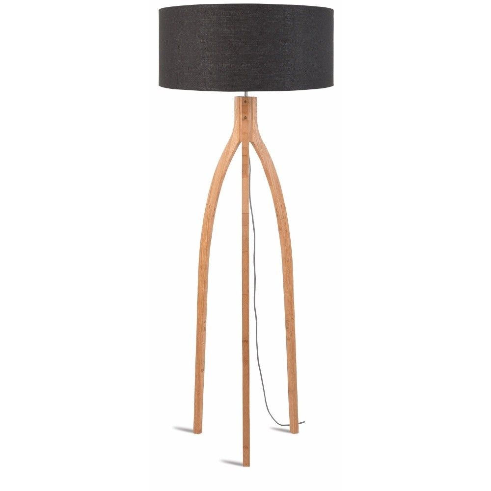 Stojacia lampa s tmavosivým tienidlom a konštrukciou z bambusu Good&Mojo Annapurna