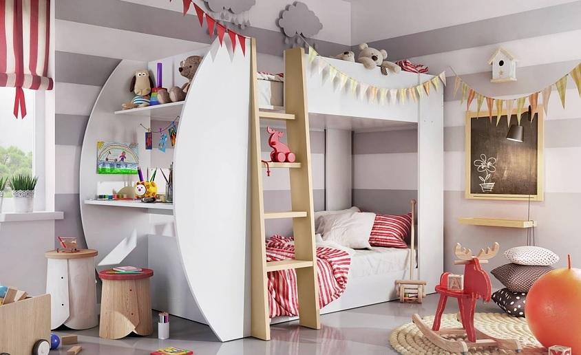 JEROME poschodová posteľ, biela/congo