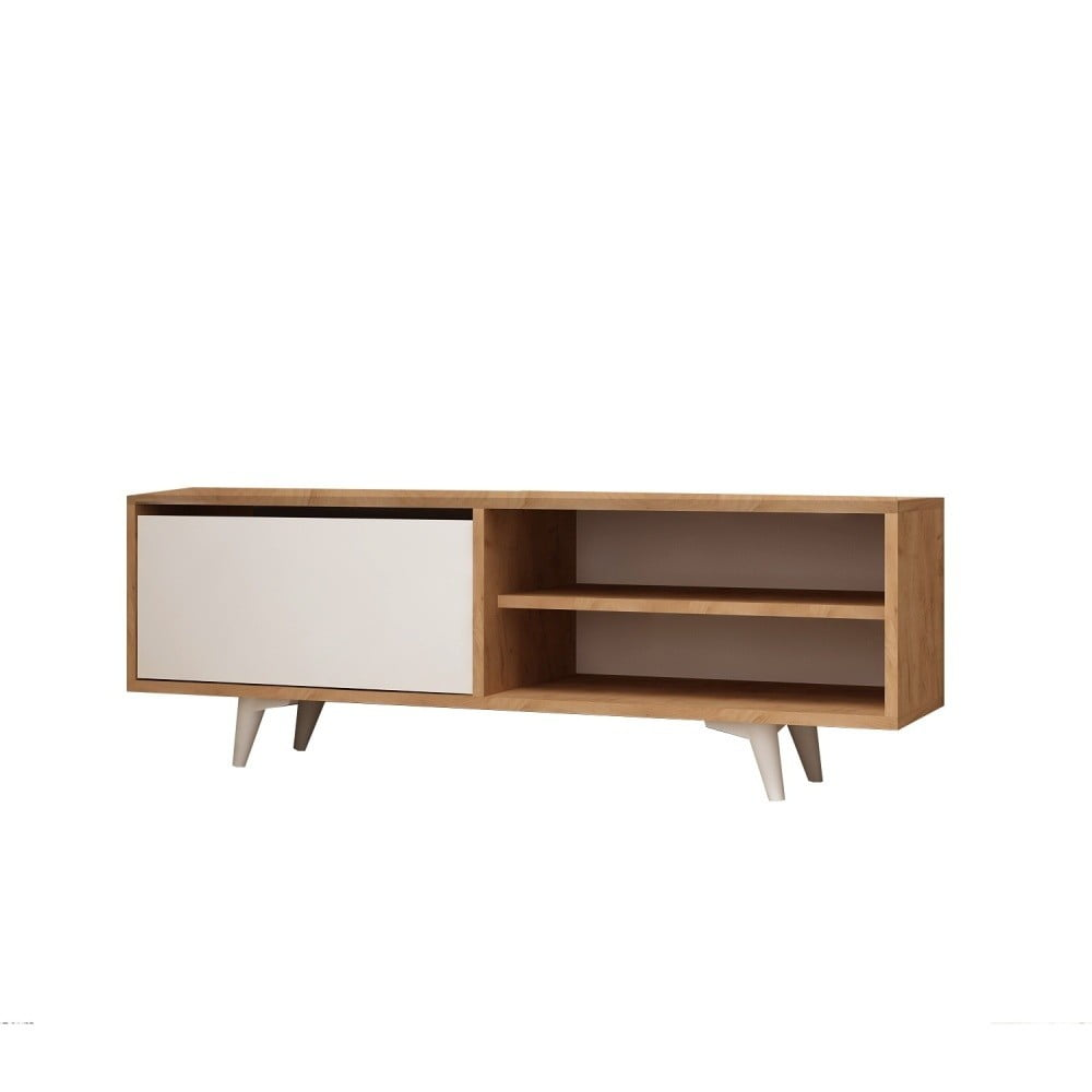 Biely TV stolík s detailmi v dekore dubového dreva Garetto Maku