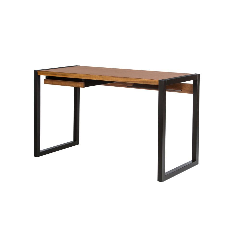 Pracovný stôl v orechovom dekore s čiernymi nohami Wermo Renfrew, 126×55cm