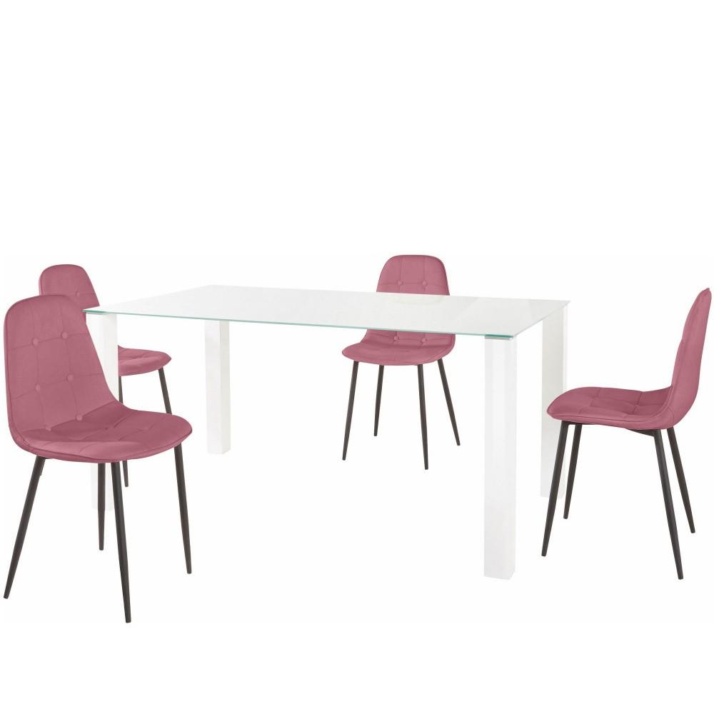 Sada jedálenského stola a 4 ružových stoličiek Støraa Dante, dĺžka stola 160 cm