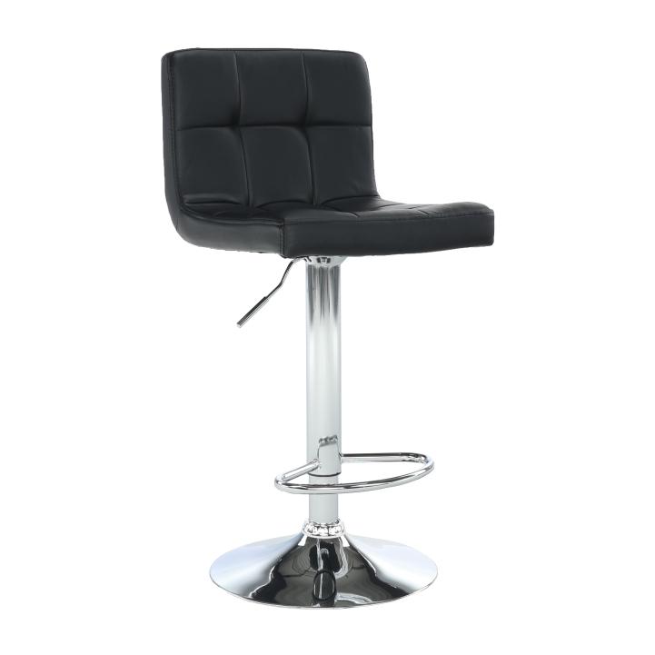 TEMPO KONDELA Barová stolička, čierna ekokoža/chróm, KANDY NEW